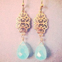 Aqua Chalcedony and Gold Filigree Dangle Earrings, Mint Green Earrings