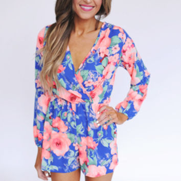 Hot Pink/Blue Floral Romper