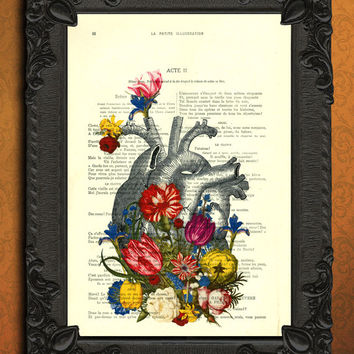 heart with flowers, heart art print, housewares wall decor - anatomical heart dictionary art, book page print, floral heart art print - page