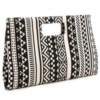 Unique Black & White Geometric Design Slim Handbag