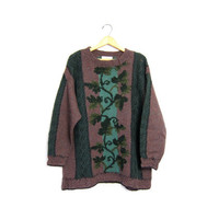 Oversized Wool Sweater Floral Knit Long Slouchy Bohemian 90s Purple Green Cut Out Woven 1990s Express Jumper Boho Vintage Womens Large