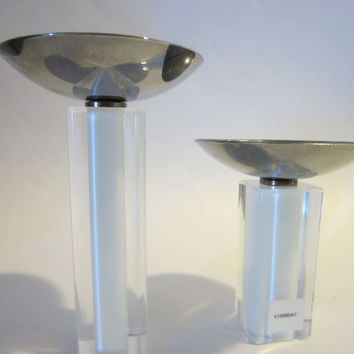 Modern Chrome Top Signed Glass Pillar Candle Holders