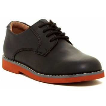 Florsheim Kearny Jr. Boy's Black Leather Plain Toe Derby Shoes, Size 3-4