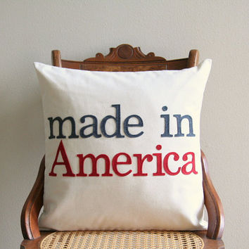 "made in America decorative pillow cover, 18"" x 18"", patriotic 4th of July, urban farmhouse, typography pillow cover,summer decor"