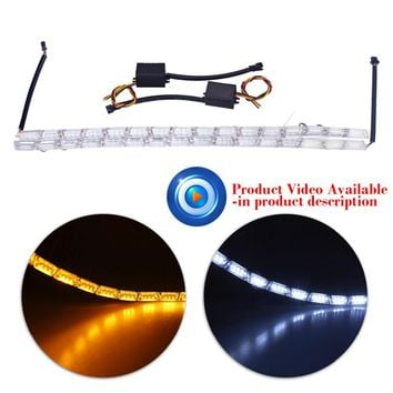 2xCar Styling16LED Knight Rider Strip LED Daytime Running Light Turn Signal Lights Yellow Steady Crystal Bar DRL Lamp