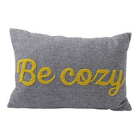"Hallmark Home Decorative Throw Pillow with Insert (18x12) Gray Tweed Bolster with Gold Applique ""Be Cozy"""