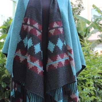 FREE SHIPPING ! Black Turquoise two sided poncho-Boho tribal poncho -Wool poncho -hippie poncho-festival clothing-Tassel wool cape-Outwear