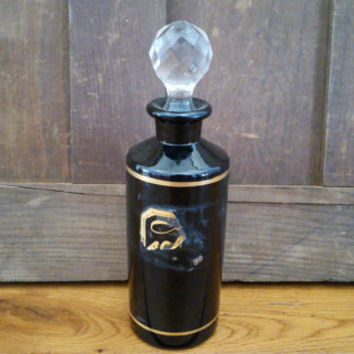 Antique Label Under Glass Black Apothecary Bottle With Glass Stopper Pharmacy Medical Doctor