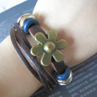 Easter gift Adjustable Leather Bracelet /Buckle by sevenvsxiao