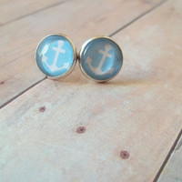 A N C H O R - Turquoise Blue and White Anchor Nautical Boat Photo Glass Cab Circle Silver Post Earrings
