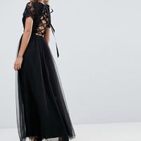 Chi Chi London Petite Maxi Tulle Dress with Lace Up Back at asos.com