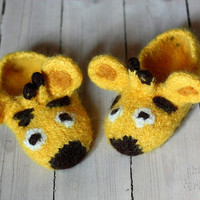 Cute giraffe slippers -size EU 27/29 - knitted and felted from 100% wool