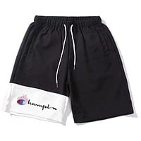 Champion X Peppa Pig Popular Casual Embroidery Color Matching Drawstring Sports Shorts Black I-MYJSY-B
