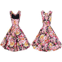 Vintage Floral Printing Sleeveless Dress
