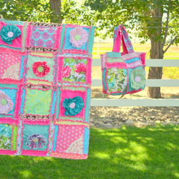 Ruffled Flower Purse and Rag Quilt in Hot Pink and turquoise- Made to Order