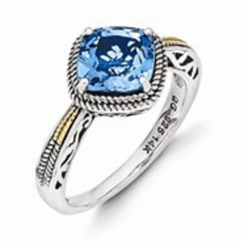 Sterling Silver w/14k Yellow Gold Antiqued Blue Topaz Ring