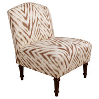 Clark Slipper Chair, Brown/Cream Zebra, Accent & Occasional Chairs