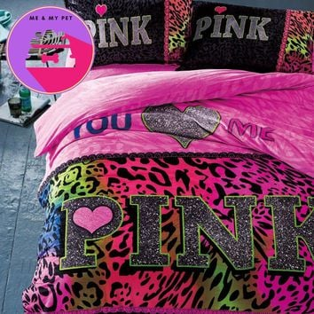 Winter Brand VS Secret Pink Soft Animal Print Fashion Velvet Victoria Bedding Set Bed Sheets 4PCS Duvet Cover Set Bedspread