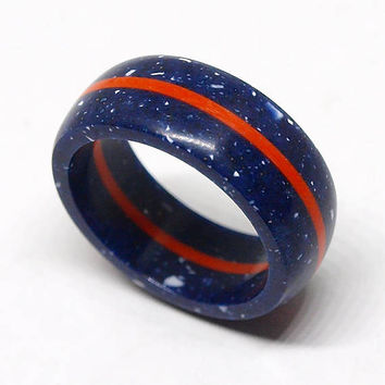 Azure blue corian ring with orange G10 / Very durable / Hypoallergenic ring / Waterproof / Size 4,5 US - 10 US