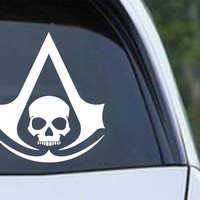 Black Flag Assassin's Creed Pirate Skull Die Cut Vinyl Decal Sticker