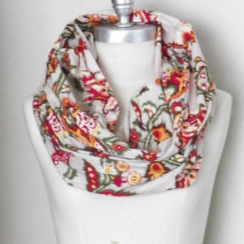 Circle Scarf, Infinity Scarf, Ikat Print, Red, Orange, Gold, Needle, Lightweight Loop Scarf