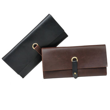 leather long wallet card hold