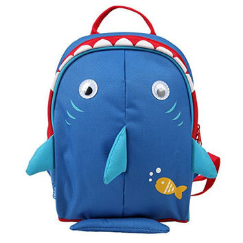Yodo Upgraded Playful Kids Insulated Lunch Boxes Carry Bag / Preshool Toddler Backpack, with Safety Harness Leash and Name Label, Navy Shark