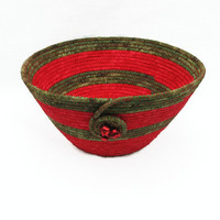 Red and Green Coiled Fabric Bowl