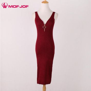 Mofjof 2017 Zipper With Ring Dress Low-cut Sleeveless Woman Shining Dress Package Hips Long Tank Dresses Ladies Summer vestidos