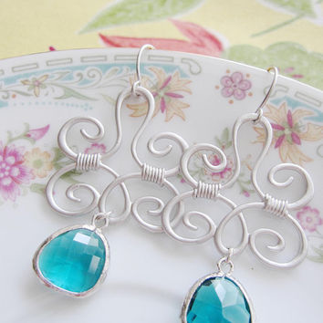 Silver Pendant Earrings- Ocean Blue Framed Faceted Glass - Bridal Jewelry- Bridesmaids - Statement