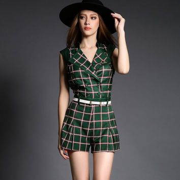 Army Green V-neck Plaid Sleeveless Belted Romper