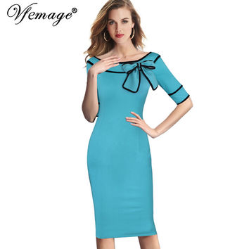 Vfemage Womens Elegant 50s Vintage Pinup Retro Rockabilly Bow Contrast Work Office Party Bodycon Wiggle Pencil Sheath Dress 6575