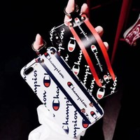 Champion Fashion new more letter print wrist couple iphone phone case protective cover