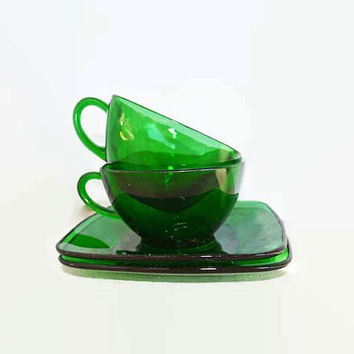 Green Glassware - Anchor Hocking Charm Forest Green Set - Vintage Green Dishes - Charm Pattern