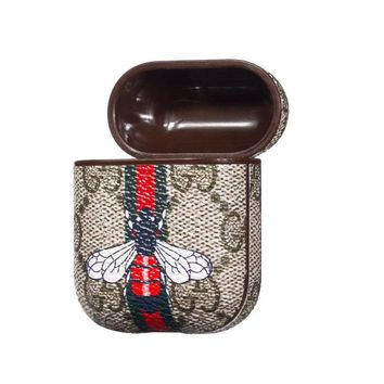 GUCCI Bee Snake Pattern iPhone AirPods Bluetooth Wireless Earphone Protector Protective Case(No Headphones)