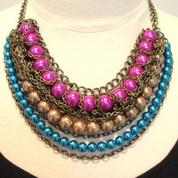 Statement necklace beaded bib necklace pearl and chain necklace tribal bohemian necklace hot pink gold turquoise bronze-Jewel Box Necklace