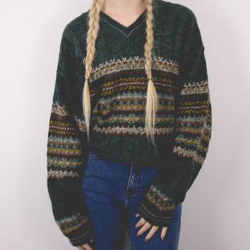 Vintage Nordic Green V-Neck Sweater
