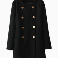 Felted Texture Double-Breasted Coat in Black - Choies.com