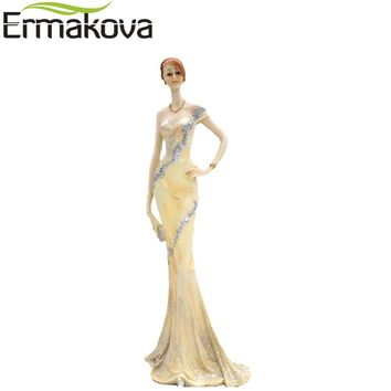 ERMAKOVA Modern Resin Elegant Woman Figurine Lady Standing Girl Statue Sculpture Ornament Home Wine Cabinet Living Room Decor