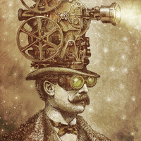 The Projectionist (sepia option) Art Print by Eric Fan