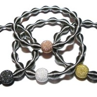 Stainless Steel Waves bracelet set with Stardust Bead center. | Decenarioscool - Jewelry on ArtFire