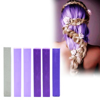 LAVENDER | A pack of 6 Hair Chalks for your highly vibrant hair coloring - silver, 2x lilac, 2x purple & indigo