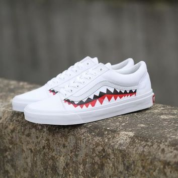PEAPON Vans x BAPE 17SS Shark Mouths XH52 White Low Tops Flats Shoes Sneakers Sport Shoes