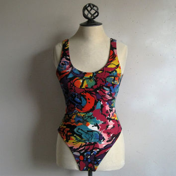 Vintage 1980s Baryshnikov Bodysuit 80s Multi-Color Abstract Stretch 1 pc Sleeveless Bodywear Small