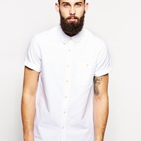 ASOS Oxford Shirt In White With Short Sleeves at asos.com