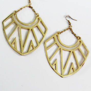 Oversized Aztec Triangle Dangle Earrings in Gold