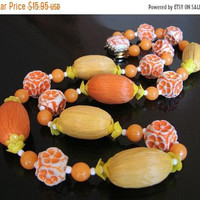 SALE Vintage West Germany Bead Necklace * Mid Century * Yellow * Orange * Gold Tone * W Germany * Western Germany *