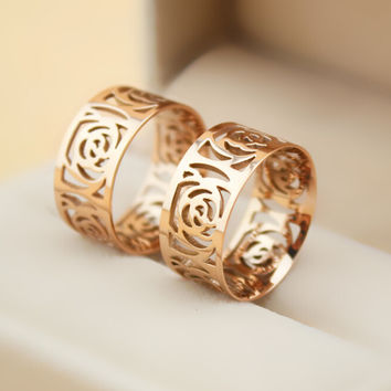 womens mens retro hollow out 14k rose gold ring gift-137