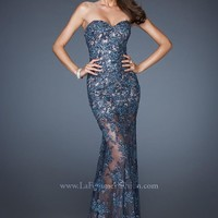 La Femme 18914 Teal Lace Dress
