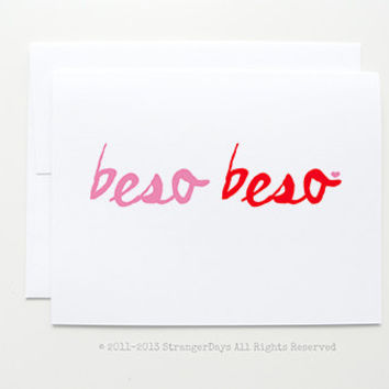 "Spanish Card "" Beso Beso "" greeting card. I love you"